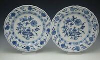MEISSEN PORCELAIN SAXONY BLUE ONION 2 DINNER PLATES ANTIQUE 1920 CROSSED SWORDS