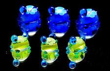 6 PCS Handmade Turtle Lampwork Glass Beads set Charm Bracelet Murano(Blue Green)