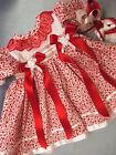 DREAM BABY GIRLS RED FLORAL DRESS & HBD NEWBORN 0-3 OR REBORN DOLL