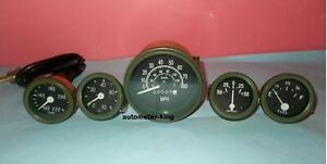 24V Willys Jeep M38 1952 Gauges Kit with Speedometer - Olive Green Bezel