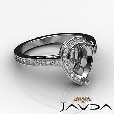 Diamond Engagement Filigree Ring Platinum 950 Pear Semi Mount Halo Pave 0.5Ct