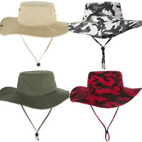 Men Camouflage Wide Brim Bucket Fishing Cap Casual Outdoor Sun Protection Hat