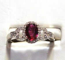 NEW 14k WG 100% Natural Ruby & Diamond Gold Ring Size 7