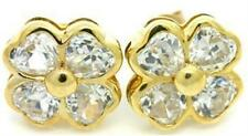 1.6ct White Sapphire 9K 9ct 375 Solid Gold Stud Celtic 4 Leaf Clover Earrings