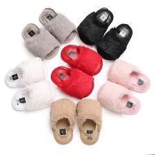 Newborn Baby Girl Soft Sole Plush Crib Shoes Anti-slip Sandals Prewalker 0-18 M