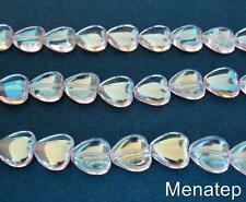 25 10 x 10 mm Czech Glass Heart Beads: Crystal AB