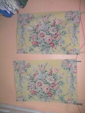 "RALPH LAUREN ""EVELYN"" PAIR OF STANDARD PILLOWCASES-YELLOW FLORAL CHINTZ FABRIC"