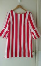NEW Pink and White stripe shift dress with bell sleeve, size 12-14