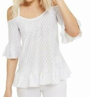 Michael Kors Women's Blouse White Size Large L Cold Shoulder Eyelet $78 #045