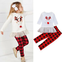 2PCS Toddler Kids Baby Girls Outfits Clothes T-shirt Tops Dress+Long Pants Set