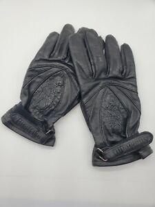 Women's Harley Davidson tooled Leather Gloves- Black, Size XL