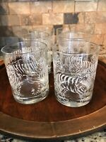 6 MIGNON FAGET Signed Double Old Fashioned Whiskey Glass ETCHED TIGER TIGER