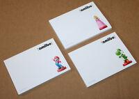2015 Nintendo Amiibo 3 x Rare Promo Memo Pad Notepad Princess Peach Mario Yoshi