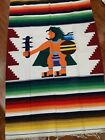 Aztec Tapestry Rug Southwest Woven Wall Hanging Native Folk Mexico  runner rug