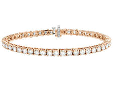 "Unisex 14k Rose Gold One Row Prong Tennis Genuine Diamond 8"" Bracelet 10 Ct 5mm"