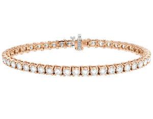 "Unisex 14K Rose Gold One Row Prong Tennis Genuine Diamond 8"" Bracelet 10 CT 5MM"