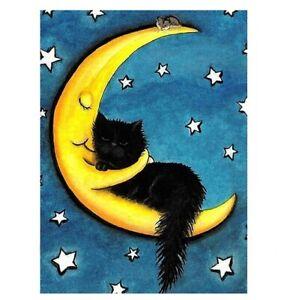 658 - Cute Cat and The Moon Fridge Refrigerator Magnet