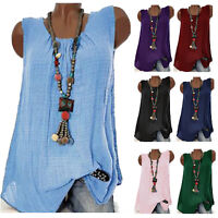 Womens Summer Sleeveless Blouse Shirt Ladies Casual Vest Tank Tops Plus Size