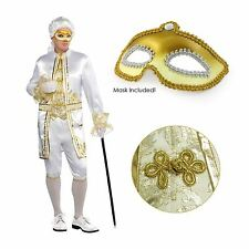 Adult Mens Casanova Renaissance Masquerade Venetian Fancy Dress Costume + Mask