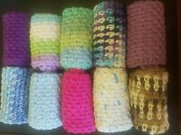 multiple colors! crocheted cotton dishcloth facecloth washcloth homemade crochet