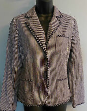 TALBOTS Stretch Stripped Black White 3 Pocket Blazer Jacket SZ 10 Large Women's