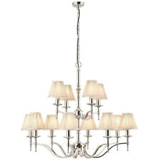 Avery Ceiling Pendant Chandelier Light–12 Lamp Bright Nickel & Beige Pleat Shade