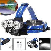 90000 LM  XM-L T6 5X LED USB Headlight 5 Modes Flashlight for Fishing Camping MT