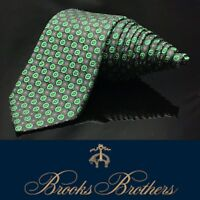 "BROOKS BROTHERS 346 ""ITALIAN SILK"" Bright Green Black Skinny Dapper Luxury Tie"