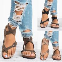 Womens Flat Summer Gladiator Buckle Sandals Flip Flop Straps T-Strap Thong Shoes
