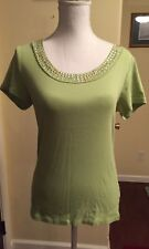 Style & Co. Top Shirt Blouse Medium Green Studded Neck Short Sleeve 100% Cotton
