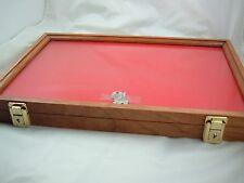 Cherry wooden table top showcase display case secure display foam lining new