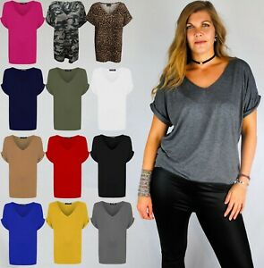 LADIES SLOUCH OVERSIZE FIT V NECK TOP W TURN UP SLEEVES CHECK ANIMAL ARMY 8 - 20