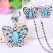 Butterfly Tibetan Silver Green Turquoise Necklace Earrings Set Prom Party N13