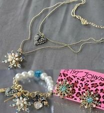 Betsey Johnson Fashion Jewelry snowflake necklace and bracelet and earrings