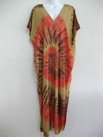 New Plus Size Women Tie Dye Maxi Dress Kimono V Neck Sundress Bohemian TDMD