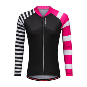 Women Ladies Long Sleeve Cycling Jersey Bike Bicycle Riding Tops Coat Breathable