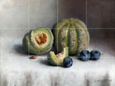 Still Life With Plums And Melons Tile Mural Kitchen Wall Backsplash Art 24x18