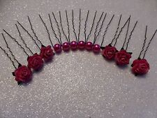 ** 6 ROSE HAIR PINS AND ** 6 GLASS PEARLS WEDDING HAIR BRIDAL PINK BRIGHT
