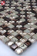 Glasmosaik Marmorierte Mosaik glasfliesen marmoriert Braun Gold Silber 30x30cm