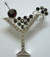 Austrian Crystal Stones in Silver Plate New New Year's Eve Brooch Pin With 37