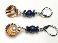 Verspielte Perlen Ohrhänger Ohrringe Brisuren Lapis Lazuli Muschel Hämatit Zucht