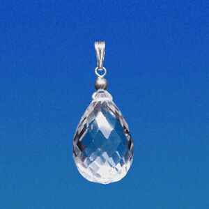 16x12mm ROCK CRYSTAL MICRO FACETED DROP / BRIOLETTE 925 STERLING SILVER PENDANT