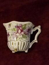 Lefton China Handpainted 3-Footed Demi Cup Japan Purple Flowers VG Cond