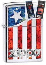 Zippo 29095 us flag fusion Lighter with *FLINT & WICK GIFT SET*