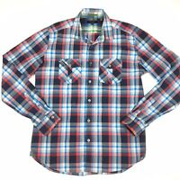 Ted Baker London Men's Red And Blue Check Long Sleeve Shirt Size 4 Made Portugal