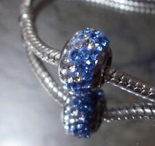 Edelstahl Pave Bead Glitzer Strass Fb Blau Kristall Silber für Armband 1620