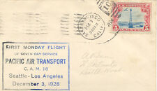 USA 1928 FIRST MONDAY FLIGHT Seven Day Service Pacific Air Transport CAM 18