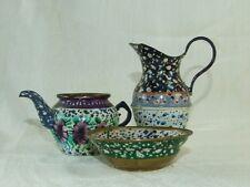 Vintage Mini Brass & Hand Painted Enamel Pitcher Bowl & Tea / Coffee Pot