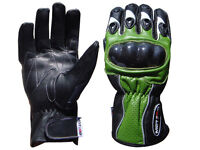 Motorcycle Motorbike Leather Gloves Carbon hard Knuckle KAWASAKI GREEN