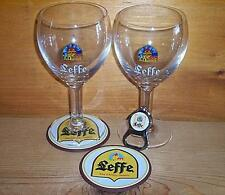 LEFFE BELGIAN 2 CHALICE GLASSES, 2 COASTERS & BEER BOTTLE OPENER SET NEW